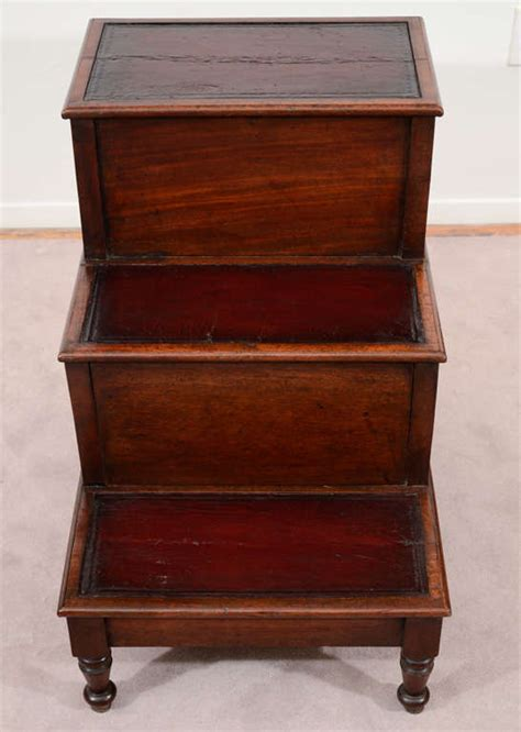 antique  century library step stool  leather
