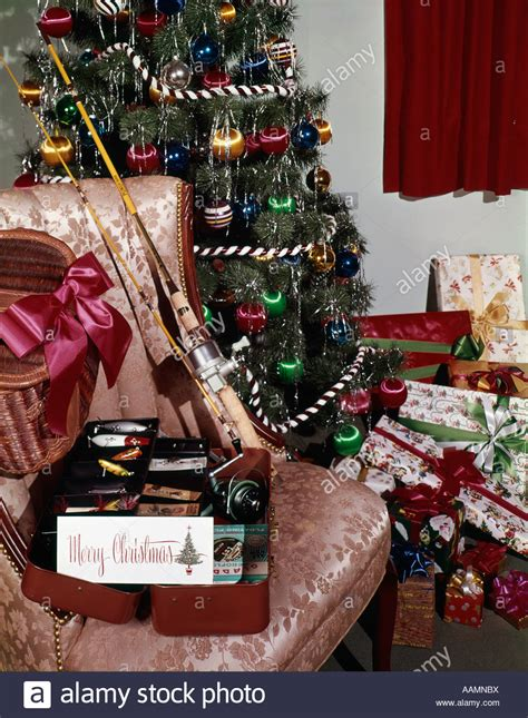 christmas tree  presents fishing pole reel