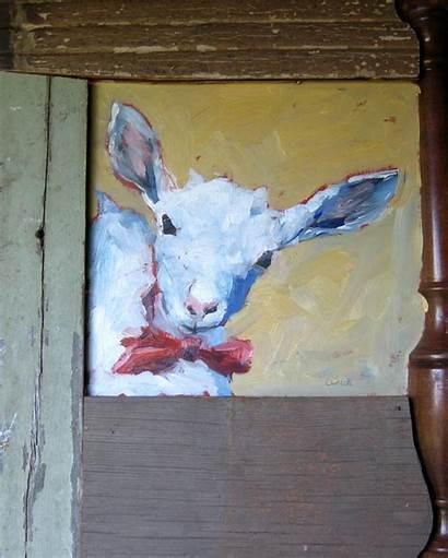 Painting Animal Bella Bowtie Repurposed Frame Oil