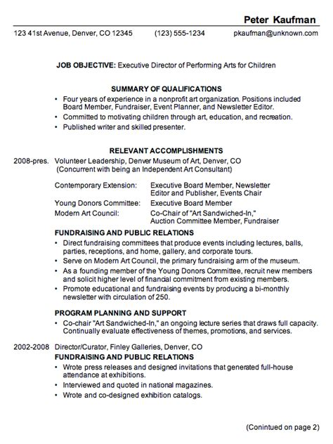 combination resume exle executive director performing