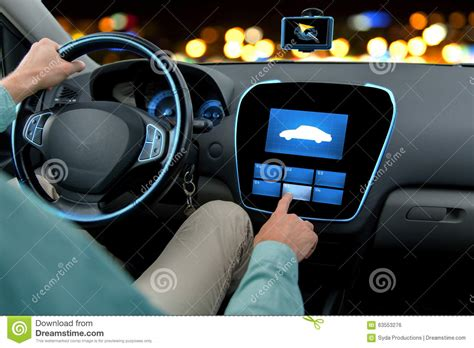 Close Man Driving Car With Board Computer Stock