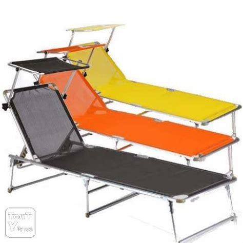 transat italien avec pare soleil bain de soleil 1 place pliant aluminium avec pare soleil