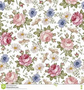 seamless pattern realistic isolated flowers vintage With markise balkon mit rosen tapete vintage