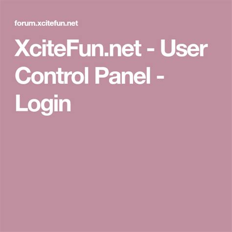 XciteFun.net - User Control Panel - Login | Control panel ...