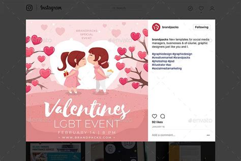 valentines day instagram templates instagram template