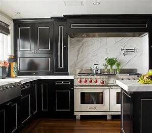 black and white kitchen transitional kitchen With what kind of paint to use on kitchen cabinets for black and white with a splash of color wall art