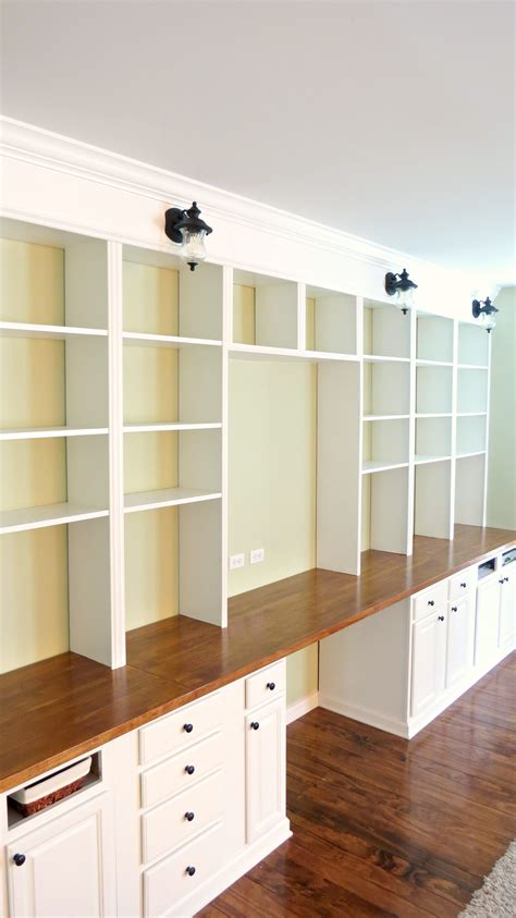 Build A Bookcase Wall by Remodelaholic Build A Wall To Wall Built In Desk And