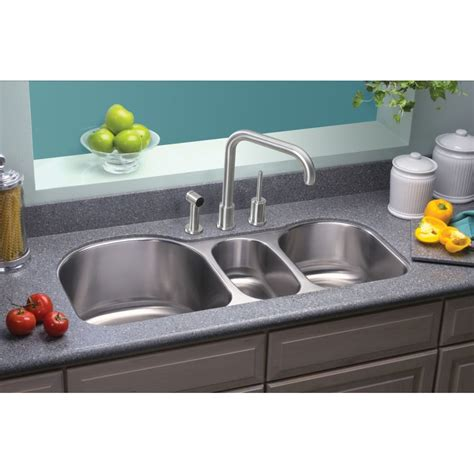 "Lustertone 395"" X 20"" Undermount Triple Bowl Kitchen Sink"