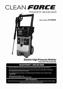 Cleanforce Hd1800 Pressure Washer Parts And Manual