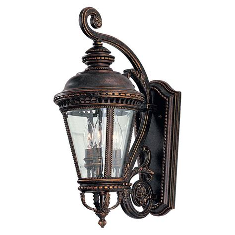 feiss castle 3 light grecian bronze outdoor wall lantern