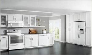white kitchen cabinets with white appliances, Cream ...