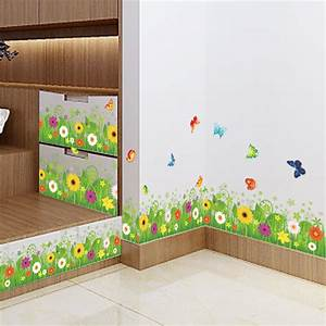 spring colorful flower grass butterfly clover skirting With kitchen colors with white cabinets with lawn stickers