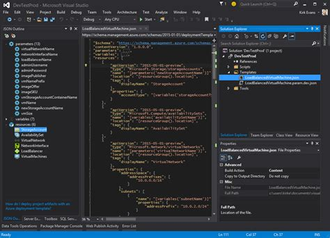 azure resource manager template azure resource manager templates with visual studio 2015 kirk