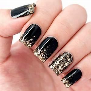 Black and gold glitter | Nails | Pinterest | Nail nail ...