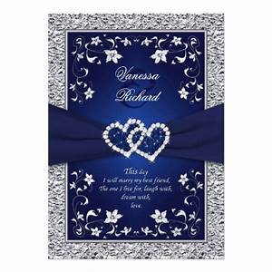 navy silver floral hearts faux foil wedding invite With royal blue wedding invitations background