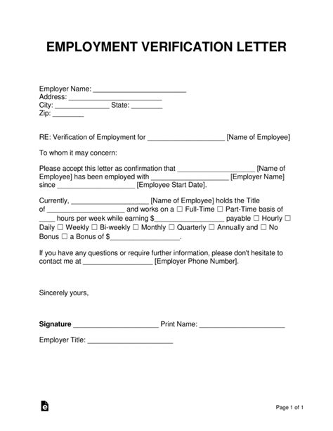 employment verification form template free employment income verification letter pdf word eforms free fillable forms