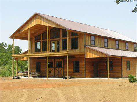 Gorgeous Pole Barn Home. Two-story Home & Two-story Porch