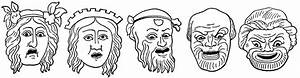 Comedy masks clipart etc for Ancient greek mask template