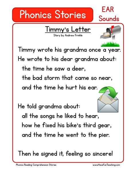 reading comprehension worksheet timmy s letter reading