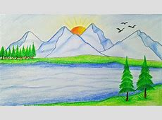 How to draw scenery of mountain Step by step very easy
