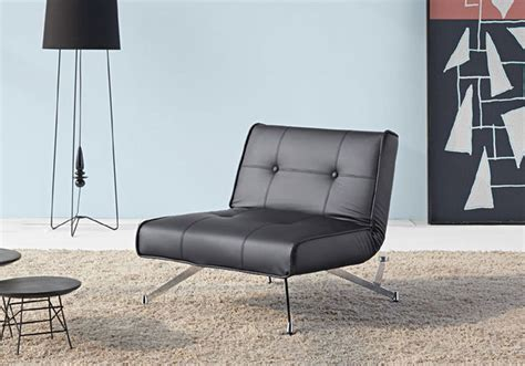 innovation usa clubber black leather chair chrome legs