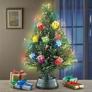 Rotating, Tabletop, Christmas, Tree, With, Fiber, Optic, Lights, Gift, Ornaments, -, Walmart, Com