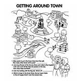 Neighborhood Coloring Map Town Crayola Getting Around sketch template