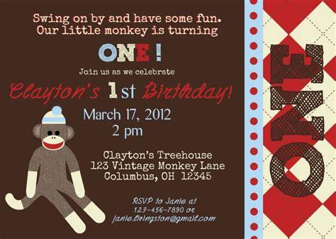 printable monkey birthday invitations