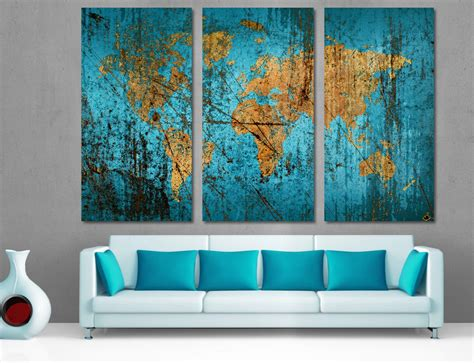 Wall Art Canvas Print Wine Old Winery Cellar Barrels: 3 Panel Split (Triptych) Abstract World Map Canvas Print