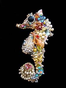 Seahorse Jewelry Mosaic Art Vintage Costume Jewelry Wall Art