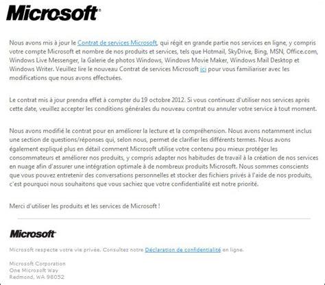 changement du contrat de service microsoft