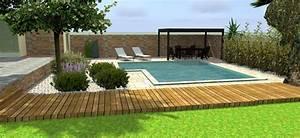 projet damenagement exterieur jardin avec piscine by With jardin paysager avec piscine 3 idee jardin paysagiste with mediterraneen piscine