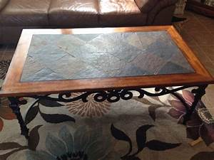 Slate wood wrought iron coffee table set in 5miles for Wood and iron coffee table sets