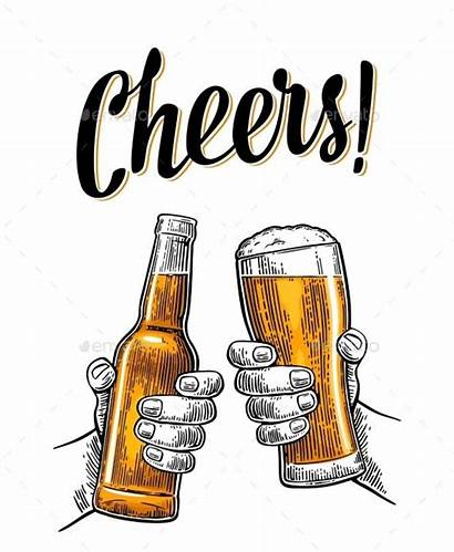 Beer Holding Glasses Hands Clinking Male Cheers