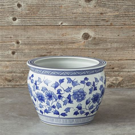 large ceramic planters blue white ceramic planter large williams sonoma