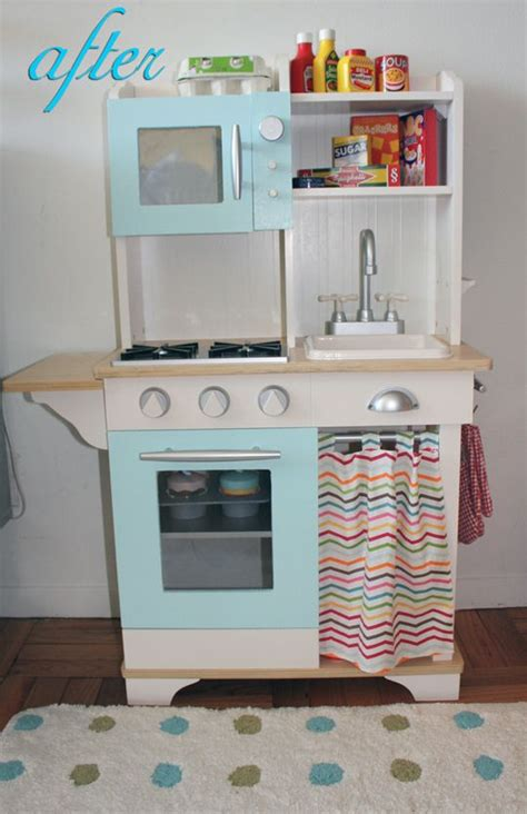 play kitchen for 7 year play kitchen from target repainted and fabric changed got