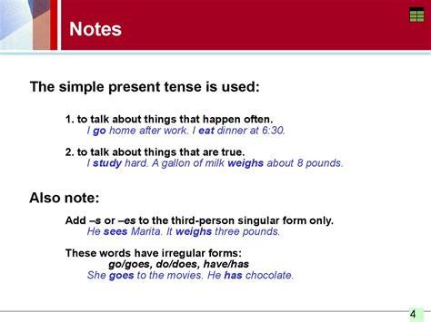 simple present tense spelling  pronouncing