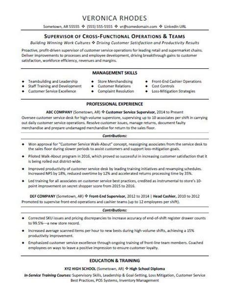 Employee Resume Format by Supervisor Resume Sle