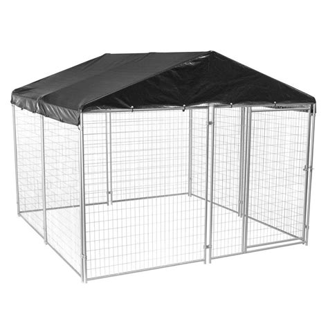 lucky 6 ft h x 10 ft w x 10 ft l modular welded wire kennel kit with cover and frame cl