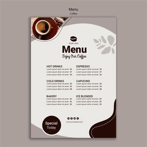 Available in (us) 8.5x11 inches, 5x7 inches, 4.25x11 inches + bleed. Download Coffee Menu Template With Special for free in 2020 | Menu template, Coffee menu, Coffee ...