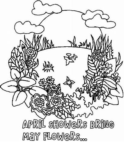 Coloring Pages April Bring Shower Springtime Flower