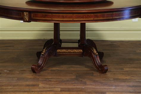 quality mahogany and walnut table with intricate inlay detail lazy susan echos the affordable high end dining table mahogany and walnut