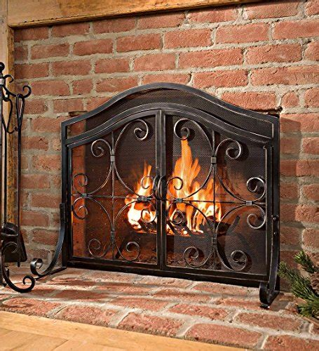 small crest fireplace screen  doors solid wrought iron