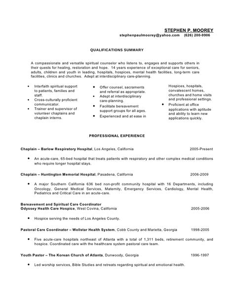 Hospice Resume Cover Letter by Steve Moorey Resume