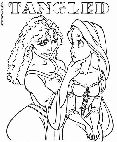 Tangled Coloring Gothel Mother Rapunzel Open Colorings
