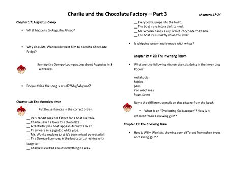 and the chocolate factory book club worksheet 3