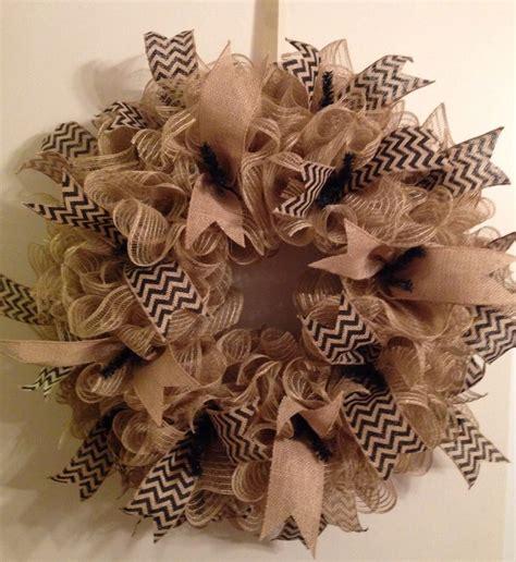 deco mesh burlap wreath chevron wreaths pinterest