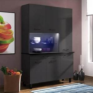 Buffet De Cuisine Gris : eco buffet de cuisine contemporain l 120 cm noir et gris anthracite brillant achat vente ~ Mglfilm.com Idées de Décoration