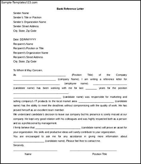 bank reference letter template word  sample