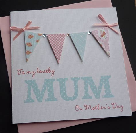 handmade personalised bunting mother s day card ebay